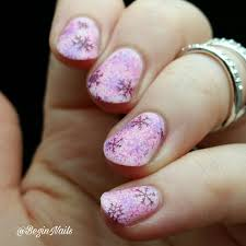 let u0027s begin nails pink winter mani with a piece of cake