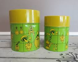 funky kitchen canisters vintage kitchen canisters etsy