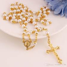 rosary bead necklace jewelry images Wholesale gold cross pendant necklace with white black pearls jpg