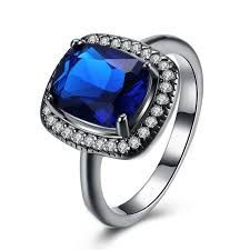 blue promise rings images Cushion cut blue sapphire black titanium halo promise rings jpg