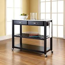 crosley black kitchen cart with stainless steel top kf30052bk