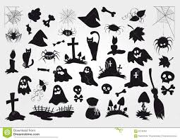 big vector set of halloween silhouettes objects and creatures