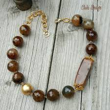 plated chain necklace images Agate stone necklace with gold plated chain chiki custom made jpg