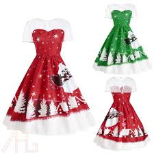 vintage christmas cocktail party women u0027s christmas party vintage dress santa claus deer print retro