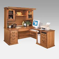 Computer Hutch Desk With Doors Gray Steel L Shaped Desk With Brown Wooden Counter Top Feat