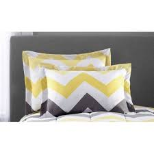 Yellow Grey And White Bedding Mainstays Yellow Grey Chevron Bed In A Bag Bedding Comforter Set