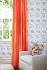 Orange White Curtains Orange Curtains Design Ideas