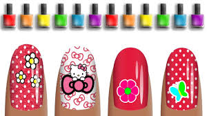 mixing nail art design painting and coloring for children with