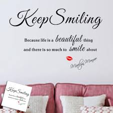 keep smiling because life a beautiful thing marilyn monroe s color black package wall sticker plus transfer film style classical art wall lettering stickers usage wall stickers wall decor decals murals for