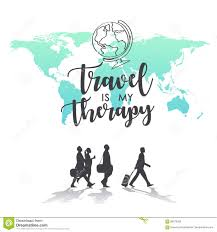 My Travel Map Travel Is My Therapy World Map Background Stock Vector Image