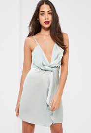 tall silver satin wrap cami mini dress missguided