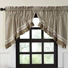 Lined Swag Curtains Ticking Stripe Cafe Curtains Wayfair