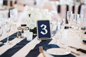 nautical style navy and table numbers with gold holders
