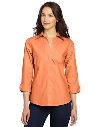 womens no iron blouses orange shirt womens custom shirt