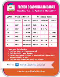 facebook weekday themes time table french coaching faridabad