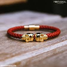 gold skull bracelet men images Steel grey nappa leather 18kt rose gold twin skull bracelet jpg