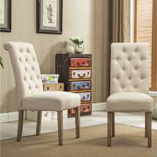 habit solid wood tufted parsons dining chair set of 2 tan