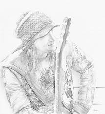man with a guitar pencil sketch show your essentials creations