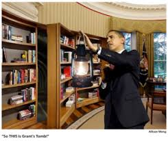 Swinging Bookcase Obama Warily Enters Mysterious Passage Found Behind Oval Office