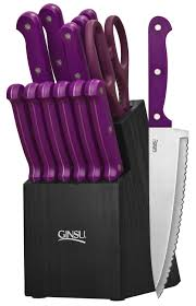 set of kitchen knives essential series 14 cutlery set w black block and purple