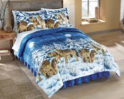 Wolf Bedding Set Midnight Wolves Bed Comforter Set With Bedskirt From Collections Etc