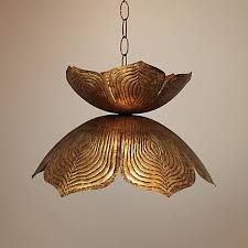 Lotus Pendant Light Flowering Lotus 20 Wide Antique Gold Pendant M9974