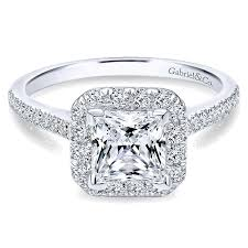 white engagement rings images 14k white gold diamond princess cut halo with french pave shank jpg