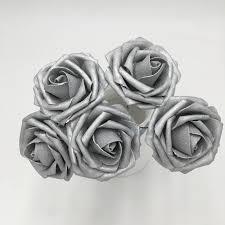 artificial flowers silver roses foam flowers 8cm 3