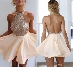 2017 cheap blush new peach halter neck homecoming dresses