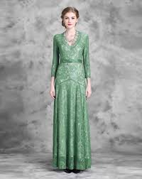 green lace floral wasp waisted maxi evening dress green feihua