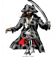 royalty free vector of a logo of a pirate with a sword by chromaco