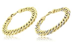 double gold bracelet images Men 39 s double cuban link bracelet groupon goods jpg