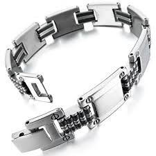 mens bracelet stainless steel rubber images Inblue men 39 s stainless steel rubber bracelet link jpg