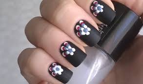 diy matte nail polish designs 1 black nails u0026 toothpick flowers