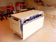 rolling work table plans amazing easy roll away diy workbench with built in mitersaw