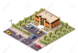isometric coffee shop building icon royalty free cliparts vectors
