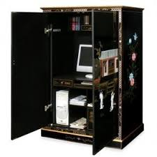 Black Computer Armoire Computer Armoire With Pocket Doors Foter
