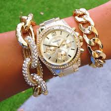 link bracelet watches images Jewels studs glimmer bracelet watch gold watch chain chain jpg