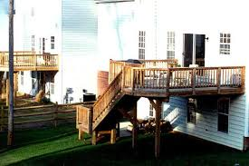 high elevation deck to accomodate second floor walkout steps and