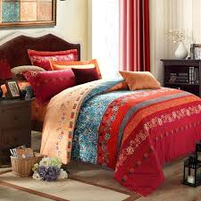 rust colored king duvet cover bohemian bedding set 4pcs winter