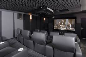 awesome home theater home theater design in modern style with three lighting fixtures