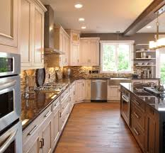 backsplash ideas for cream cabinets kitchen traditional with range
