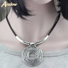 leather necklace women images Hyperbole handmade rope leather necklace with hammered circle jpg
