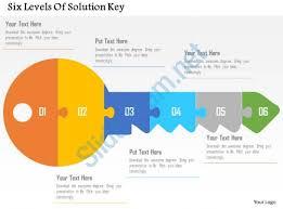design logo ppt six levels of solution key flat powerpoint design presentation