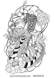 hand drawn outline koi fish dragon stock vector 589706078