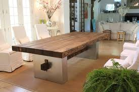 apartments excellent barn wood dining table feat stainless steel
