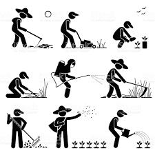 gardener and farmer using gardening tools and equipment stock