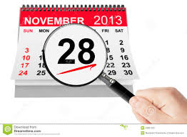 thanksgiving day concept 28 november 2013 calendar with magnifi
