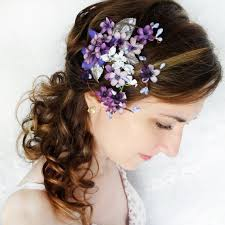 flower hair accessories lilac purple flower hair clip bridal hair accessory purple