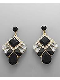 rhinestone earrings vintage style black jet rhinestone drop earrings blue